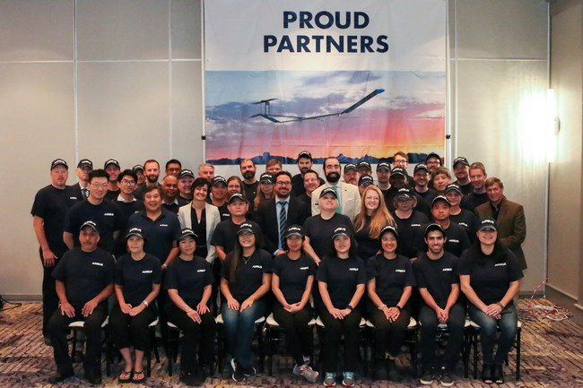 Airbus representatives with MicroLink employees on October 1, 2019, celebrating MicroLink's recognition by Airbus as a key supplier of advanced solar cell arrays for the Zephyr HAPS UAV platform.