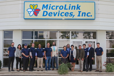 Airbus representatives and MicroLink's management staff gathered in front of MicroLink's offices on October 1, 2019, celebrating MicroLink's recognition as a key supplier of advanced solar cell arrays for the Zephyr HAPS UAV platform.