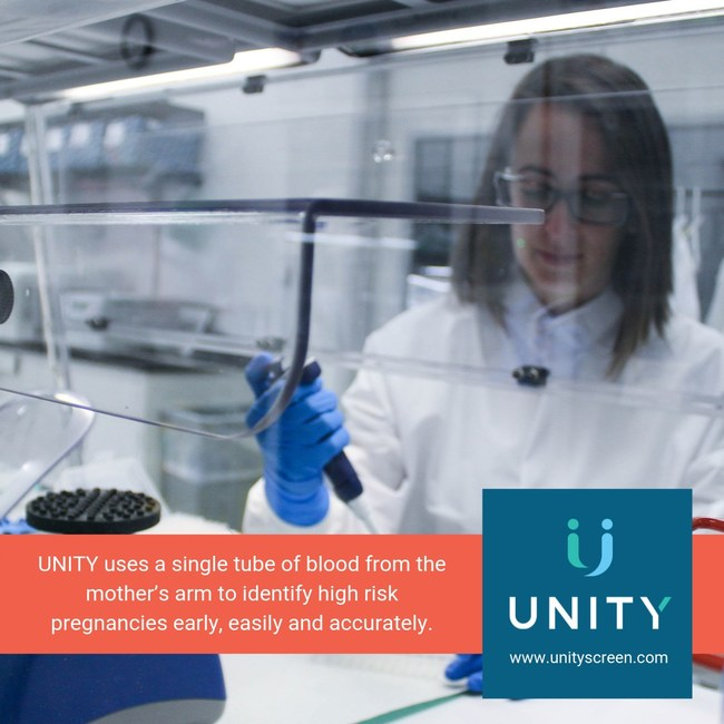 UNITY is the only prenatal screen that tests cell-free fetal DNA for cystic fibrosis, spinal muscular atrophy (SMA) and sickle cell disease using just one tube of blood from the mother.