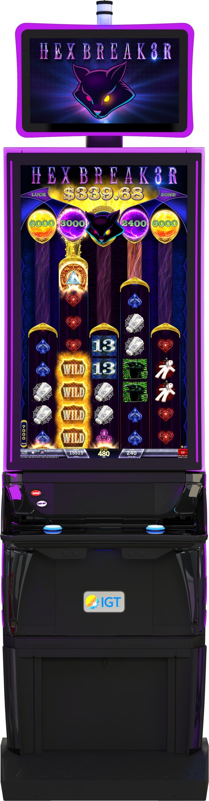 IGT's Hexbreaker 3 video slots on the CrystalCurve cabinet.