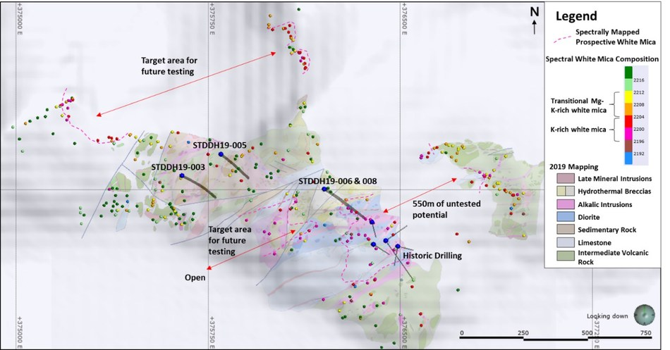 Figure 1: Map illustrating the 2019 mapping and spectral geology layers relative to 2019 drill holes. (CNW Group/Crystal Lake Mining Corporation)