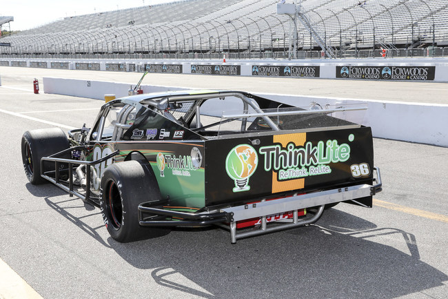 The #36 ThinkLite LLC NASCAR Whelen Modified car driven by Bobby Santos III before its win at Loudon in September.