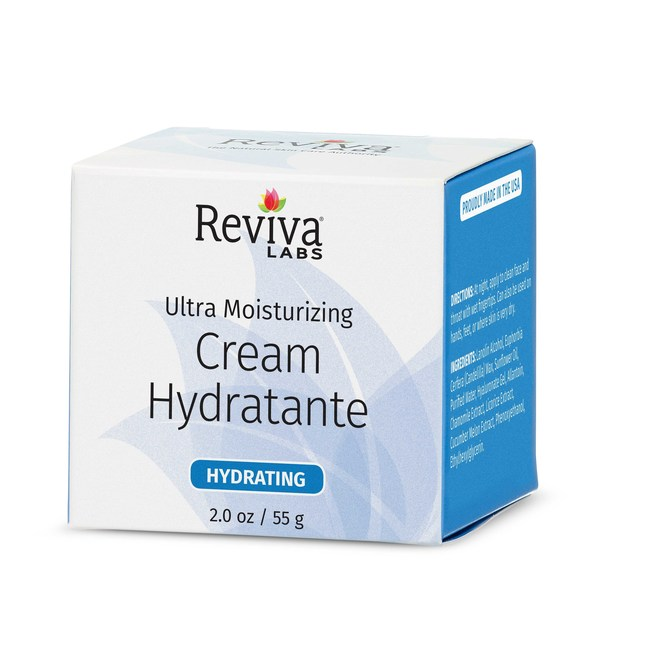 Reviva Labs' Cream Hydratante is an ultra-moisturizing night cream for dry, rough, or irritated skin. It's a unique blend of emollients and nourishing oil that help soothe and calm skin while hyaluronic acid retains moisture and candelilla wax inhibits moisture loss. Excellent for the face and neck areas, it can also be used on hands, elbows, feet or anywhere skin is severely under moisturized.