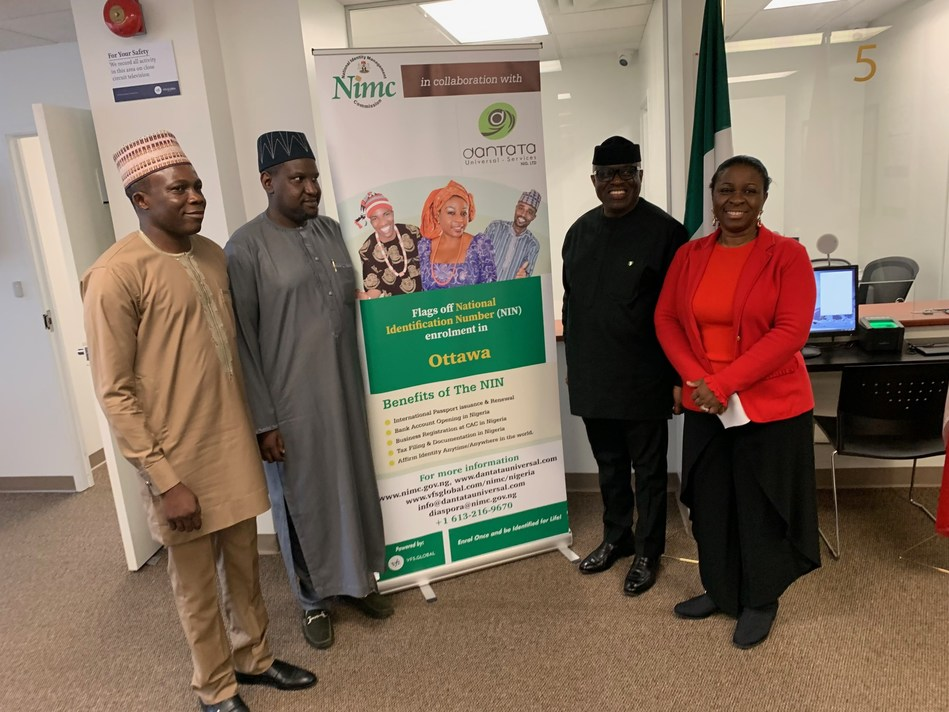 H.E. Adeyinka Olatokunbo Asekun, Ambassador of Nigeria to Canada (second from right) at the inauguration of the National Identification Number Enrolment Centre for Nigerians launched in Ottawa, Canada, on 03 October 2019