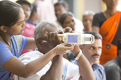 QuickSee Handheld Autorefractor in use in India.