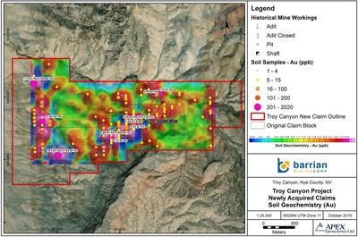 Figure 1: Troy Canyon Gold-Silver Project Historical Soil Geochemistry (CNW Group/Barrian Mining Corp.)