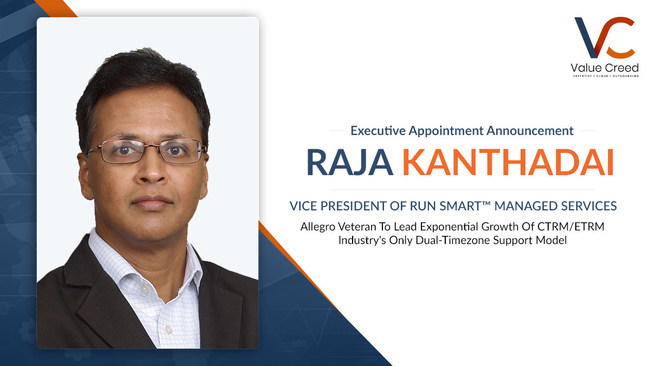 Value Creed Names Raja Kanthadai Vice President of Run Smart™ Managed Services