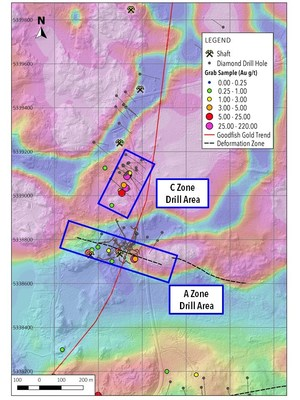 Map 2. Areas that will be tested during the Phase Two drill program. (CNW Group/Warrior Gold Inc.)