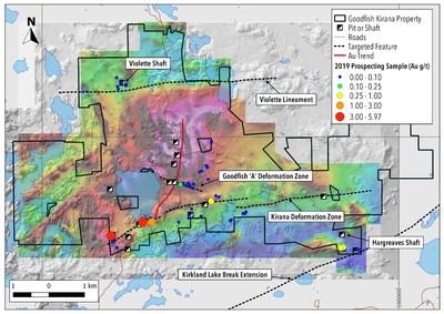 Map 1. Prospecting Results on Goodfish-Kirana with aeromagnetics. (CNW Group/Warrior Gold Inc.)