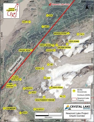 Location of new and historic showings within the Chachi Corridor. (CNW Group/Crystal Lake Mining Corporation)