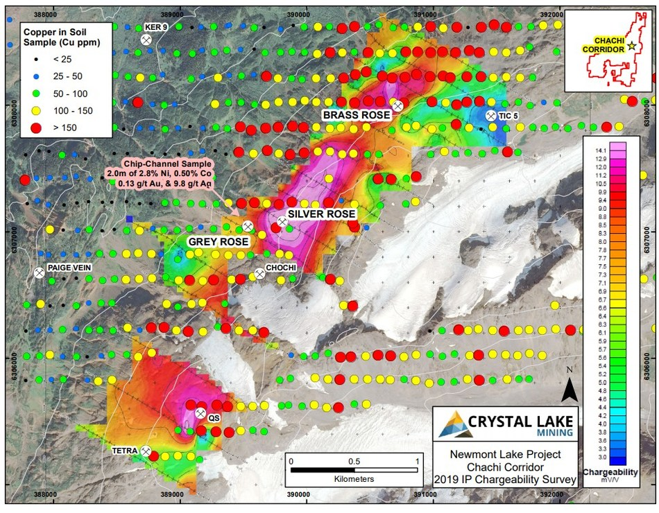 The N5 slide of the 2019 IP survey shows a chargeable response coincident with sizable Cu in soil anomaly with the newly discovered Grey Rose, Silver Rose and Brass Rose showings centered along the chargeable feature. (CNW Group/Crystal Lake Mining Corporation)