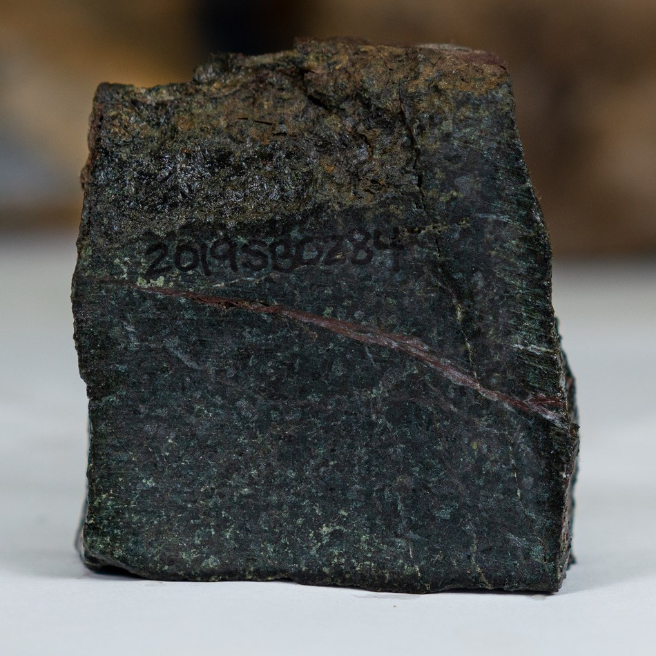 Newly discovered gabbroic mafic intrusive rocks within the Chachi Corridor. This rock type is highly unusual for the region and is often associated with Ni-Cu-Co deposits around the world. (CNW Group/Crystal Lake Mining Corporation)