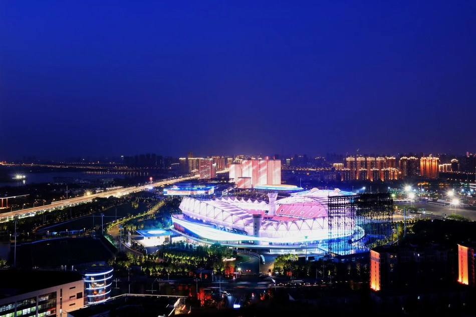 Night view of the Wuhan Sports Center