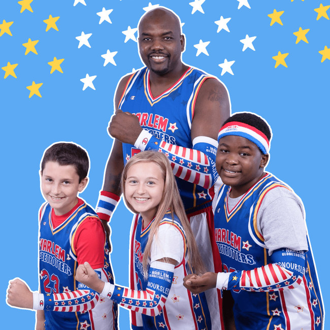 Harlem Globetrotters star Big Easy Lofton poses with new shooting sleeve inspired by their partners at Nationwide Children's Hospital and their On Our Sleeves™ movement, which focuses on supporting children's mental health.