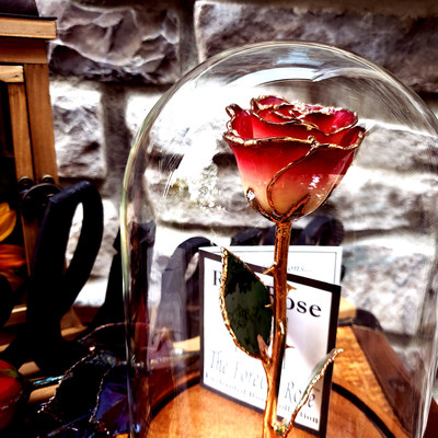 Custom made 'Beauty and the Beast' rose made with a Forever Rose, Gold Rose.
