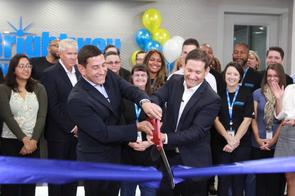 Brothers and Brightway Co-Founders, Michael (left) and David Miller (right), welcomed employees and guests to a ribbon-cutting event this morning to showcase the company's newly renovated headquarters.