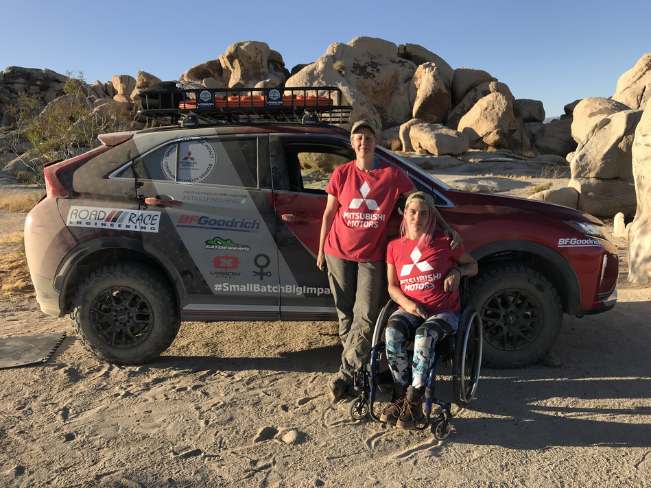 Rachael Ridenour and Karah Behrend of Team Record the Journey are shown with their modified Mitsubishi Eclipse Cross ahead of the 2019 Rebelle Rally