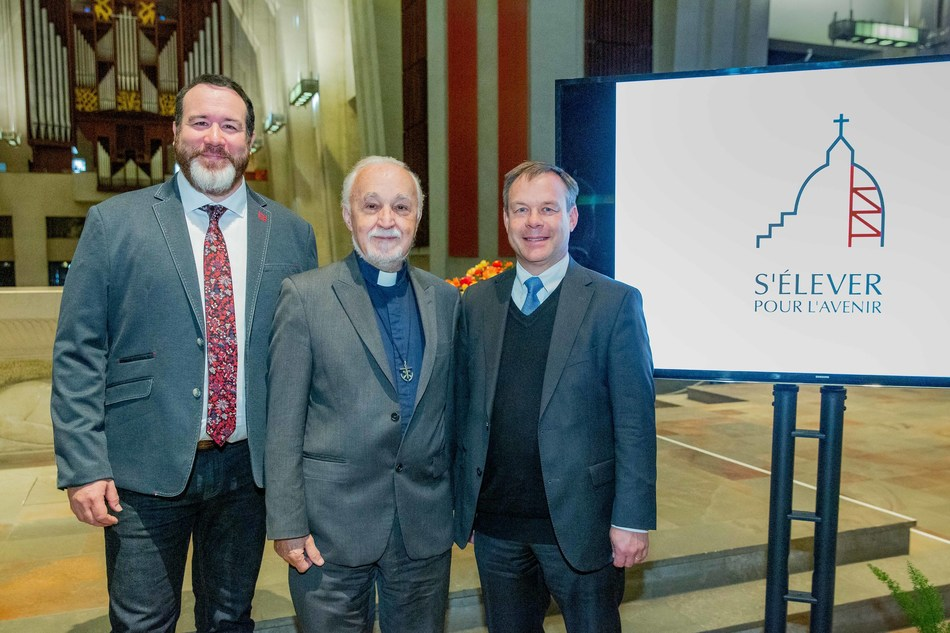 From left to right:  Jean-François Porlier, actor, Father Claude Grou, CSC, Rector of Saint Joseph's Oratory and Pierre Piché, Vice President of Power Corporation and Power Financial Corporation, Chairman of the Saint Joseph's Oratory Foundation's Board of Directors, at the launch of the Oratory's public fundraising campaign. (CNW Group/Saint Joseph's Oratory of Mount Royal)