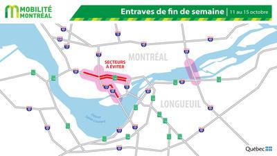 Carte générale des entraves, fin de semaine du 11 octobre (Groupe CNW/Ministère des Transports)