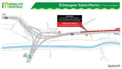 Fermeture R136-A20 OUEST et échangeur Angrignon, fin de semaine du 11 octobre (Groupe CNW/Ministère des Transports)