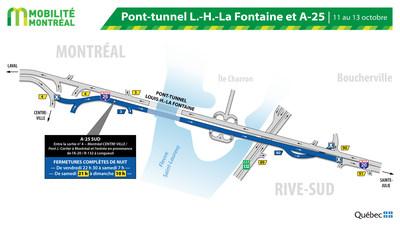 A25 nord et tunnel La Fontaine, fin de semaine du 11 octobre (Groupe CNW/Ministère des Transports)
