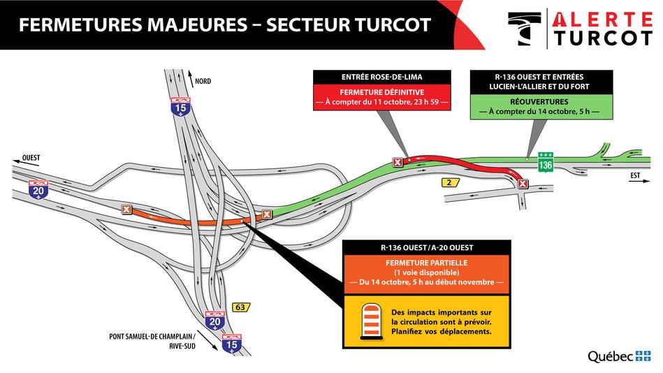 Alerte Turcot à compter du 14 octobre (Groupe CNW/Ministère des Transports)