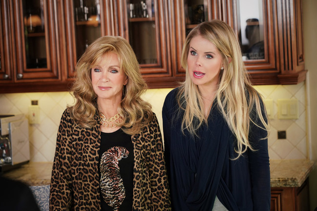 """Donna Mills and Crystal Hunt in """"Mood Swings,"""" a new comedy about four generations of women thrown together by circumstance to live under one roof and survive in Los Angeles. The hilarious new comedy series premieres Oct. 24 on streaming service Pure Flix (www.PureFlix.com)."""