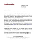 Lundin Mining Files Technical Report for Chapada Copper-Gold Mine (CNW Group/Lundin Mining Corporation)