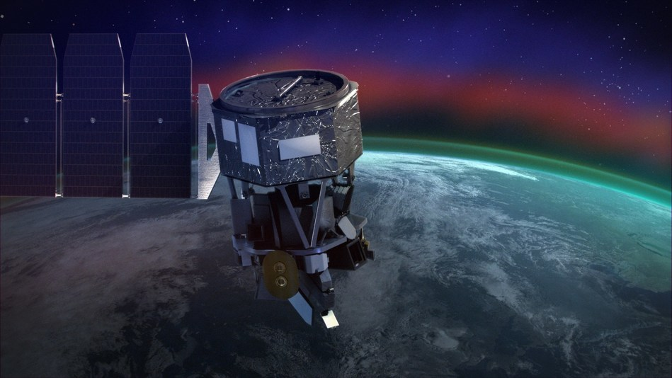 U.S. Naval Research Laboratory's Michelson Interferometer for Global High-Resolution Thermospheric Imaging (MIGHTI) payload launched on NASA's Ionospheric Connection Explorer (ICON) mission to study the effects of terrestrial weather and solar influences on the Earth's ionosphere from a height of about 350 miles. (Graphic courtesy of NASA)
