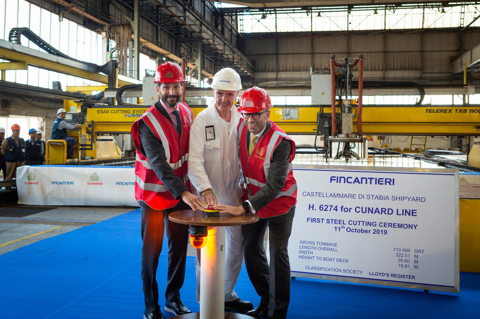 (L-R) Josh Weinstein, President of Carnival UK Ltd, Gilberto Tobaldi, Shipyard Director from Fincantieri and Simon Palethorpe, President of Cunard push the button, starting the machine to cut the first piece of steel at the Fincantieri shipyard in Naples, Italy for Cunard's new, as yet unnamed, ship which will launch in 2022.