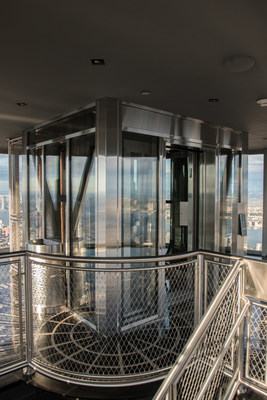 The Otis custom-made glass elevator for Empire State Building's 102nd floor Observatory