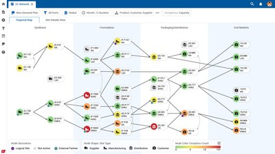 Kinaxis interactive supply chain network map (CNW Group/Kinaxis Inc.)
