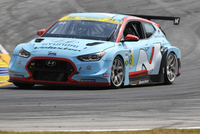 Braselton, Ga. (Oct. 12, 2019) ? Mark Wilkins and Michael Lewis, drivers of the #98 Hyundai Veloster N TCR Race Car for Bryan Herta Autosport (BHA) with Curb Agajanian, clinched the 2019 IMSA Michelin Pilot Challenge Drivers' Championship yesterday with a victory at the Fox Factory 120 at Michelin Raceway Road Atlanta.  Bryan Herta Autosport secured the Team Title and Hyundai finished a close second in the Manufacturers' Championship.