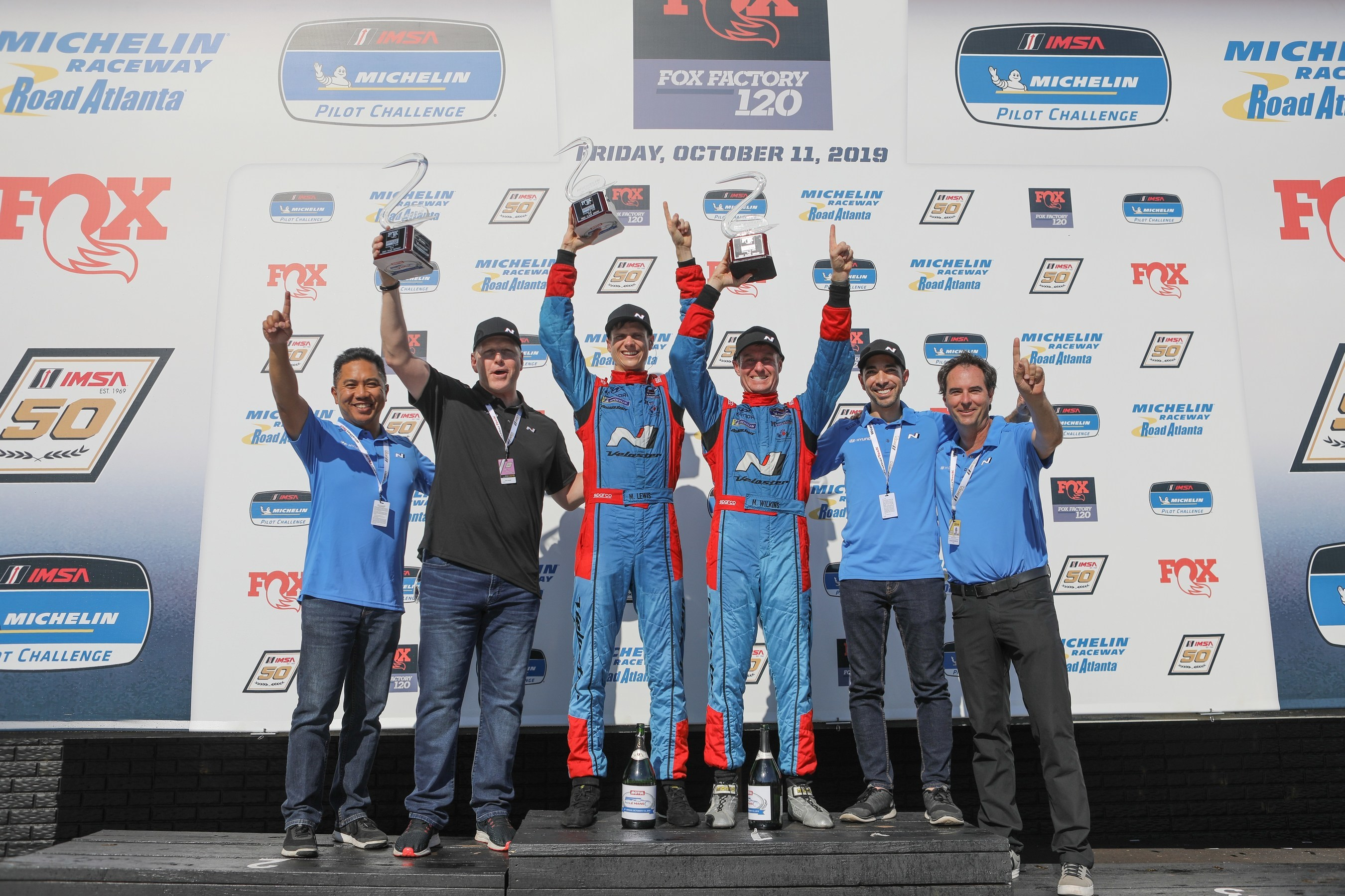 Mark Wilkins and Michael Lewis Win 2019 IMSA Michelin Pilot Challenge Drivers' Championship in Hyundai Veloster TCR Race Car