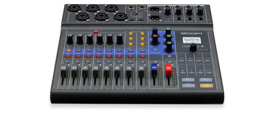 Zoom LiveTrak L-8 makes it easier than ever to mix, monitor and record professional-sounding podcasts and music performances in one portable package.