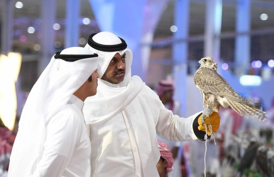 Falconers at the 2nd Saudi Falcons and Hunting Exhibition - Riyadh, Saudi Arabia