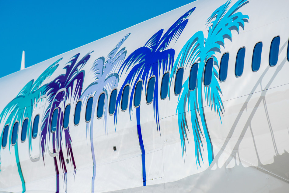 United Airlines Her Art Here California Livery with Palm Trees