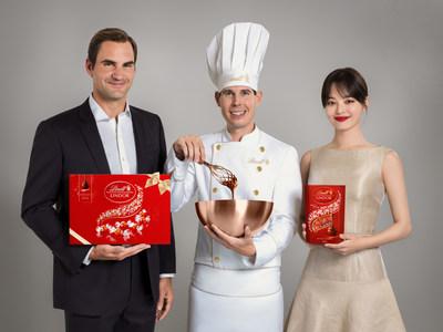 Roger Federer, Lindt Master Chocolatier Stefan Bruderer and Xin Zhilei