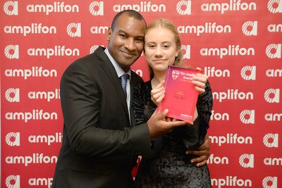 London Bridge hero Wayne Marques presenting Freya Lewis with the 2018 Amplifon Award