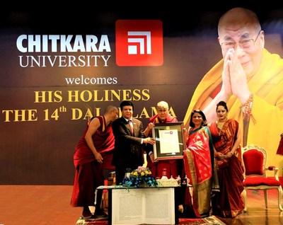 His Holiness The Dalai Lama awarded Honorary Doctorate by Chitkara University