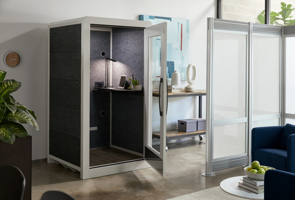 The VARIDESK Privacy Booth provides focus in collaborative environments.