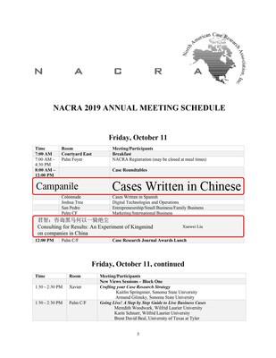 NACRA 2019 schedule