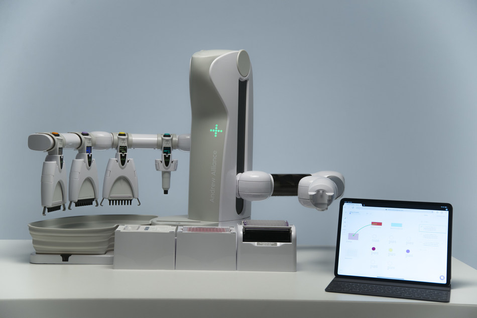 Andrew+ is a pipetting robot that uses conventional single and multichannel electronic pipettes.