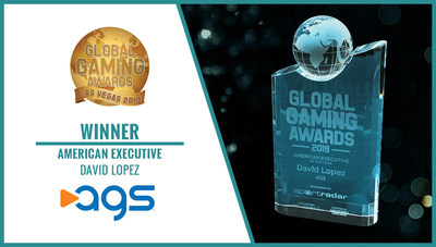 """AGS President & CEO David Lopez was named 'American Executive of the Year' during the Global Gaming Awards held Monday, October 14 at the Global Gaming Expo (""""G2E"""") in Las Vegas."""