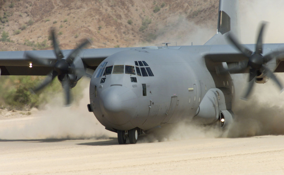 A C-130J Super Hercules demonstrates its capability to land in remote, austere conditions. The mission-proven Hercules recently surpassed 2 million flight hours. (Lockheed Martin photo)