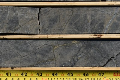 Figure 3.  Photo of core at 917 meters in GTR-19-017 illustrating strong silica-sericite alteration, 10% pyrite, and quartz stringers within the large wide spread mineralized corridor of 910-946.8 meters. (CNW Group/Gatling Exploration Inc.)