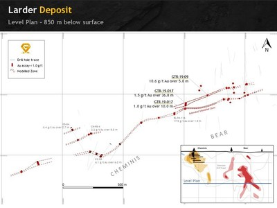Figure 2. Level cut at 850 meters below surface illustrating both South Flow zone  mineralized trend connected with Cheminis. (CNW Group/Gatling Exploration Inc.)