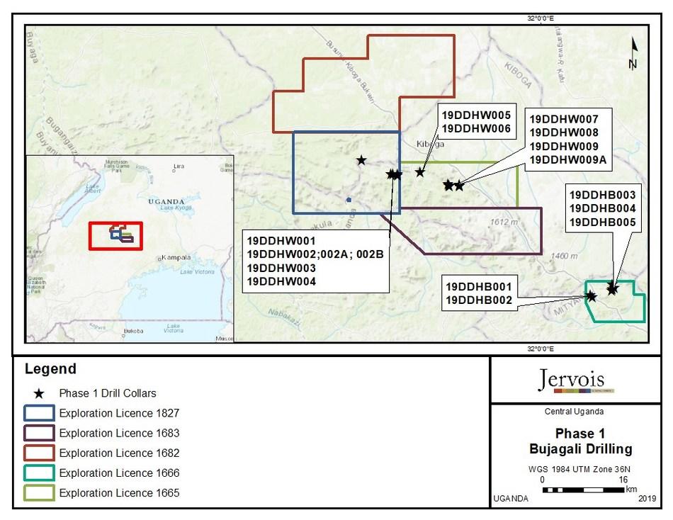Figure 1: Phase 1 - Bujagali Drilling (CNW Group/Jervois Mining Limited)