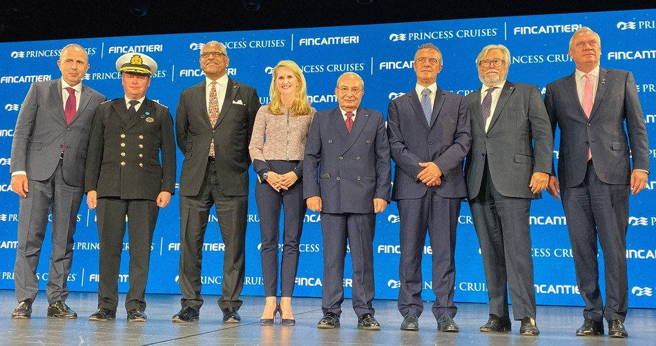 From left to right: Roberto Olivari, Monfalcone Shipyard Director; Captain Heikki Laakkonen; Arnold Donald, President and CEO of Carnival Corporation; Jan Swartz, Group President of Princess Cruises and Carnival Australia; Giuseppe Bono, CEO of Fincantieri; Gianluca Castaldi, Undersecretary of State to the Presidency of the Council of Ministers; Micky Arison, Chairman of Carnival Corporation; Stein Kruse, Group CEO of Princess Cruises, Holland America Line, Seabourn, Carnival Australia and UK