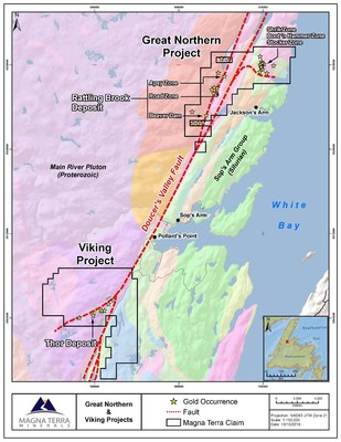 Exhibit C: Great Northern and Viking Project property geology and gold occurrences (CNW Group/Anaconda Mining Inc.)